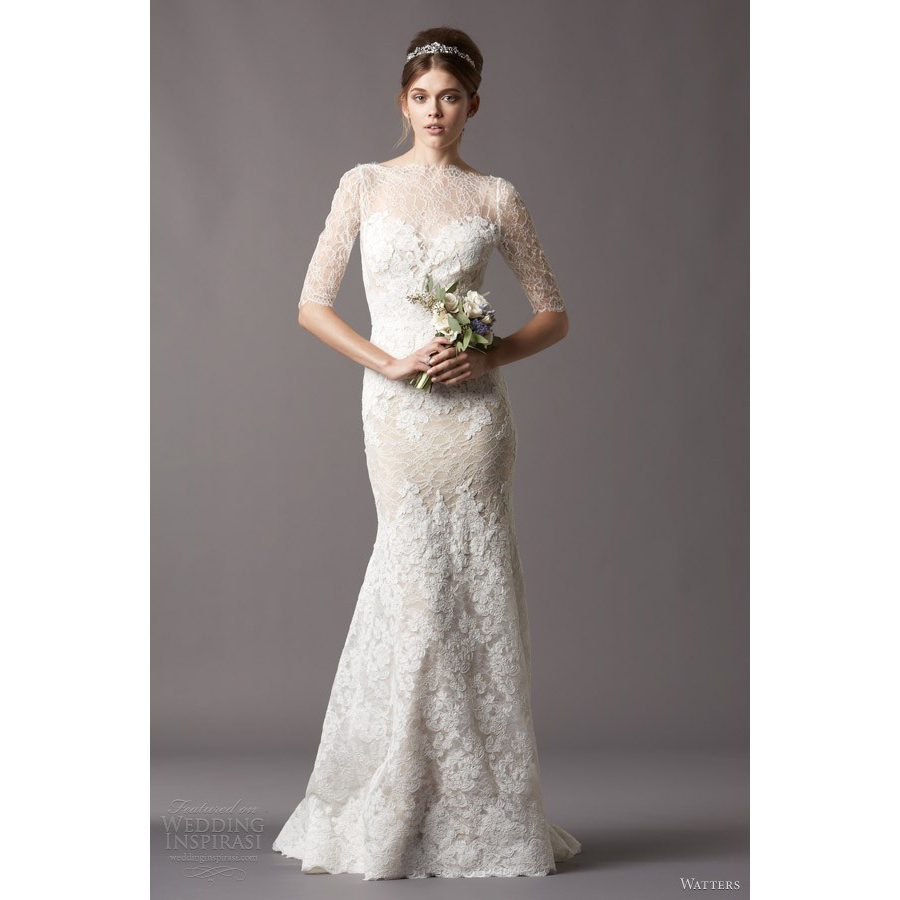 Low Back Wedding Dress Fit And Flare : Popular lace fit and flare wedding dress buy cheap