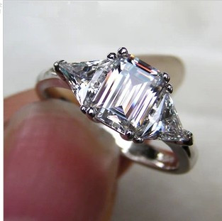 Luxury SONA Simulated Diamond Hot Celebrity Engagement Rings For Women! 3carat Emerald Cut 3 Stone 2 Trillion Cut Side Stones(China (Mainland))