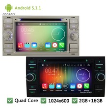 QuadCore Android 5.1.1 1024*600 Car DVD Player Radio Stereo Audio Screen For Ford Transit Fiesta Galaxy Fusion C-MAX S-MAX Focus