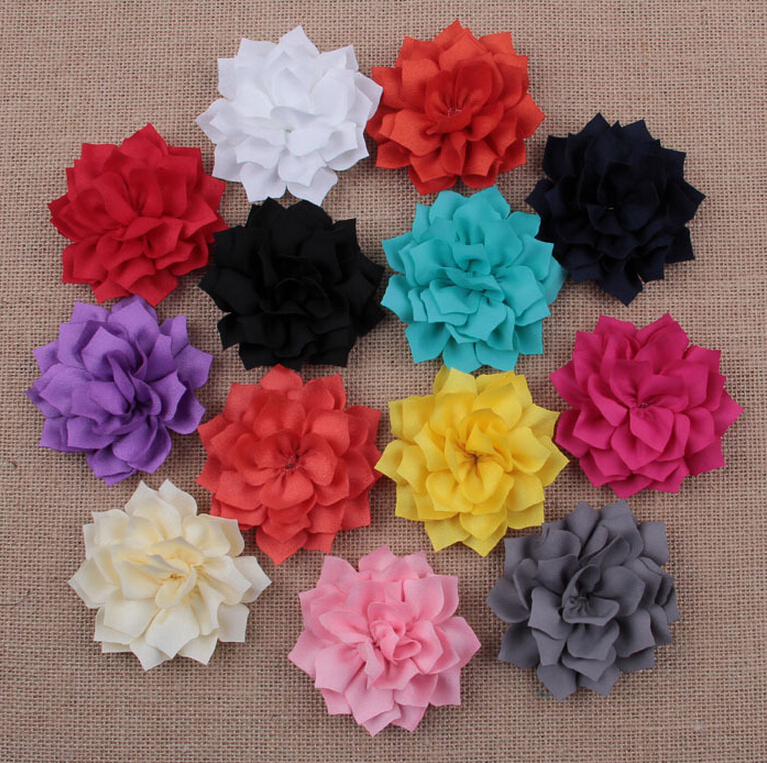 Lotus Layers Fabric Flower Girls Hairpins Hairbands DIY Baby Headwear Hair Clips Accessories - Shanghai HELE Trade Company store
