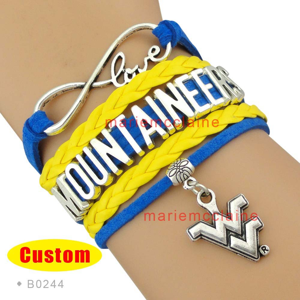 (10 Pieces/Lot) Infinity Love NCAA West Virginia Mountaineers Sports Bracelet Blue Gold Custom Sports Bracelet Drop Shipping(China (Mainland))