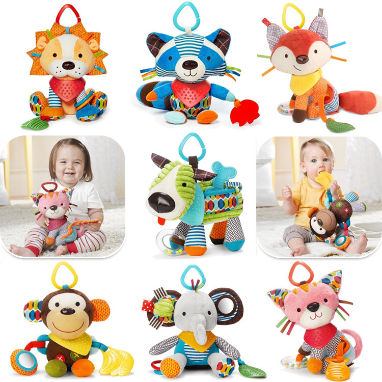 Kids Baby Music Hanging Toys Educational For Boys Girls Animal Toy Plush For Babys Rattles Free Shipping(China (Mainland))