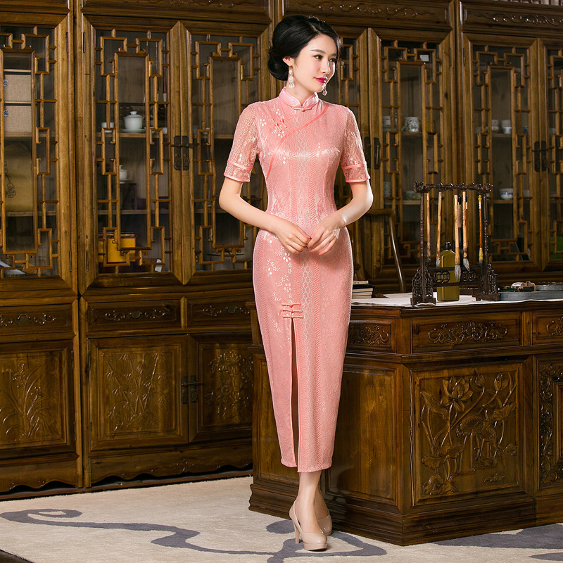 High-Grade Pink Lace Chinese Nationality Womens Qipao Long Elegant Collar Cheong-sam Dress S M L XL XXL Free Shipping  F201612Одежда и ак�е��уары<br><br><br>Aliexpress