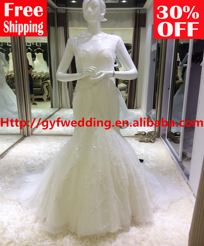 zipper sleeveless floor-length sweep train O-neck beading pearls Crystal tank wrap mermaid Wedding Dresses 15042 - Guangzhou Gloria Dress Co., Ltd store