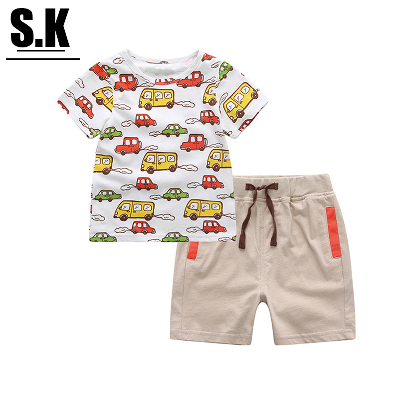 KW Brand Kids Clothes Boys Print Cars Clothing Sets Fashion 2-6T Baby Boys Costume Sports Suit Summer Sets for Boys(China (Mainland))