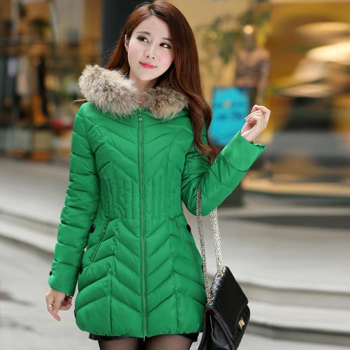 Desigual Wave Cut Winter Coat Women 2015 Fur Collar Parka Slim Hooded Womens Jackets Coats Manteau Femme Jacket