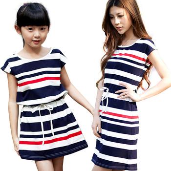 Семейный комплект платья, соответствия мать и дочь платье 2015 лето мода полосой шнуровка девушки свободного покроя костюмы одежда