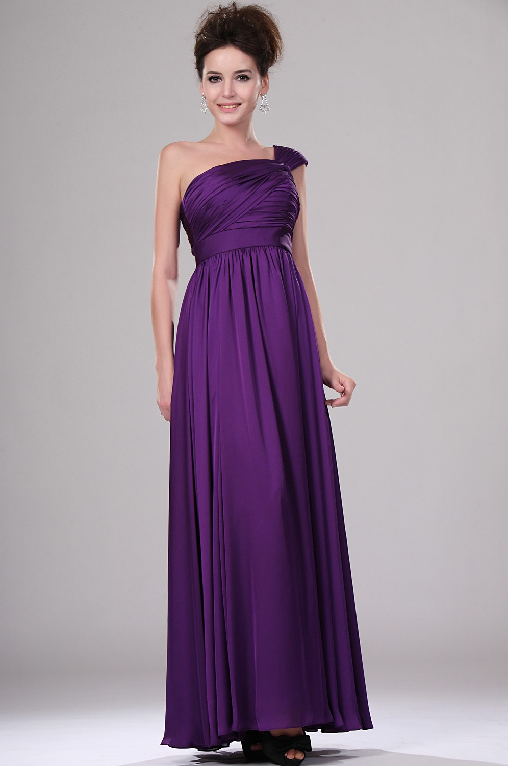 Purple elegant long one shoulder evening dress 2015 for Purple plus size dresses for weddings