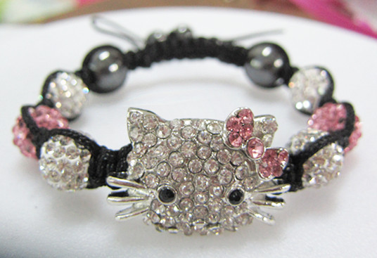 New Fashion Women Bracelets Pink Bowknot Hello Kitty Crystal Shamballa Bracelets Bangles Wholesale 5pcs/lot Charm Bracelet