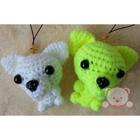 Chihuahua Puppy cotton crochet handmade toy stuffed toy white dog(China (Mainland))