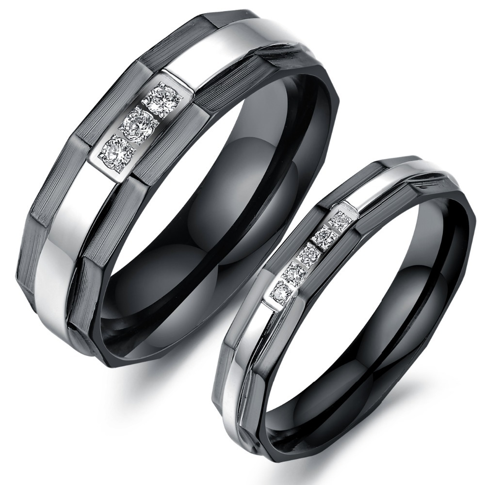 One Piece Price New His And Hers Promise Ring Sets Fashion Black Wedding Rings For Men And Women
