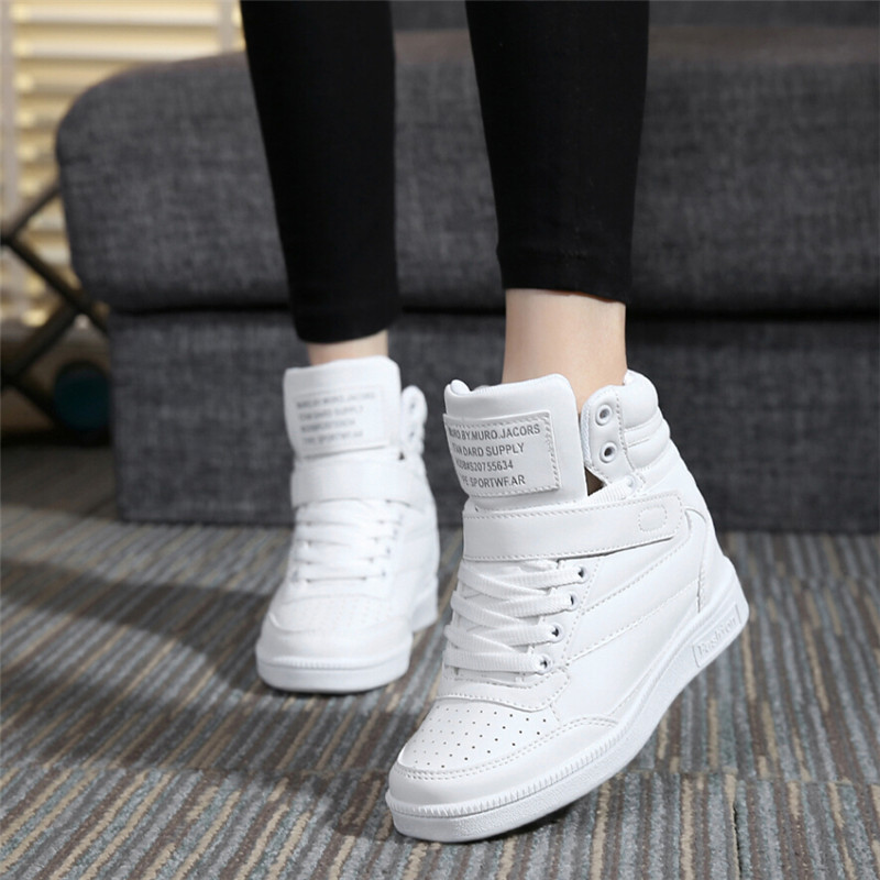 2015 spring autumn ankle boots heels shoes women casual shoes height increased wedges shoes high top mixed color(China (Mainland))