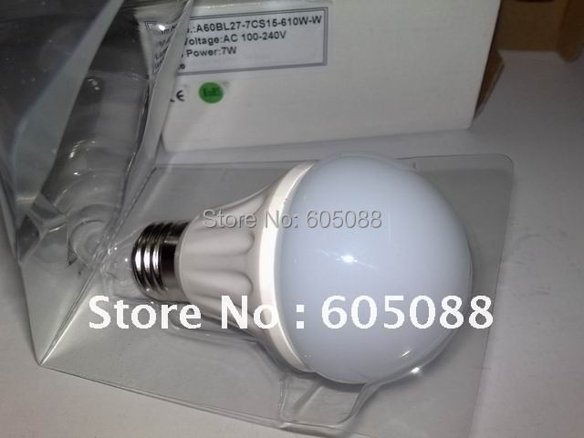 7w led bulb,Ceramic shell,E27 base,AC100-240v,CE&ROHS,more easy for heat dissipation,20pcs/lot promotion