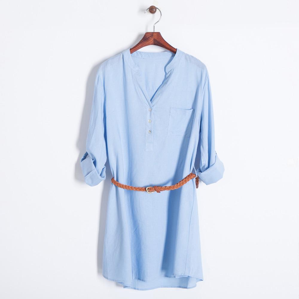 Women Casual Cotton Blue Cream Tunic Shirt With Sash Belt