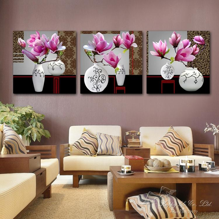 3 panel modern art Modern oil Painting Home Decorative wall Art Paint Canvas Print PINK Magnolia flower - If you come here store