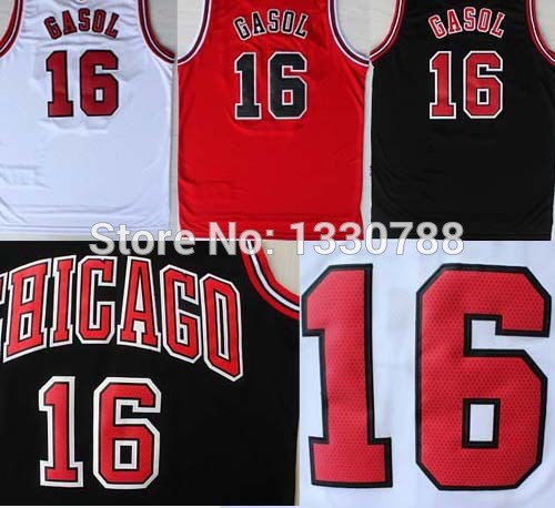 Free delivery top quality! Hot Sale Basketball Jersey Pau Gasol Chicago #16 Camiseta 2015 All Atar Spain Black White Red Gasol S(China (Mainland))