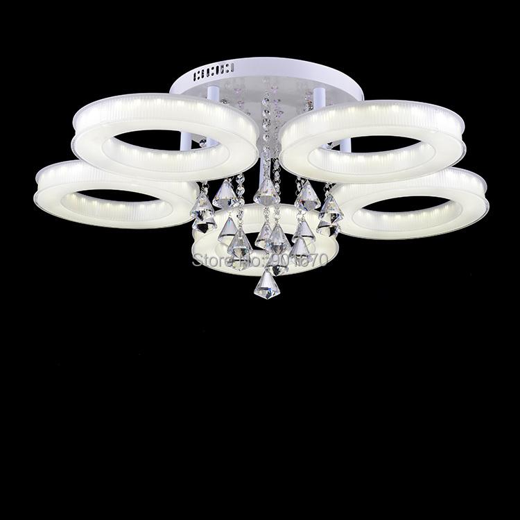 Flag acrylic led crystal ceiling light modern lamp 81W 5 circle ring 3 2 LED residential lighting free shippment - Goddesslighting Factory's store