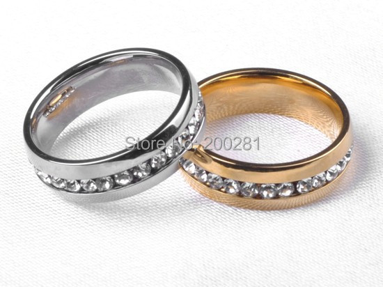 Fashion Men/Women Crystal Stainless Steel Rings Gold 316L 1 Row Wedding Engagement Jewelry Silver  -  jewelry store