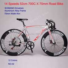 2015 New 700C X 70mm Road Bike 14 Speeds 52cm Aluminium Alloy Frame 12 Colors Road Bicycle Double Disc Brake Bicicleta Road Bike(China (Mainland))