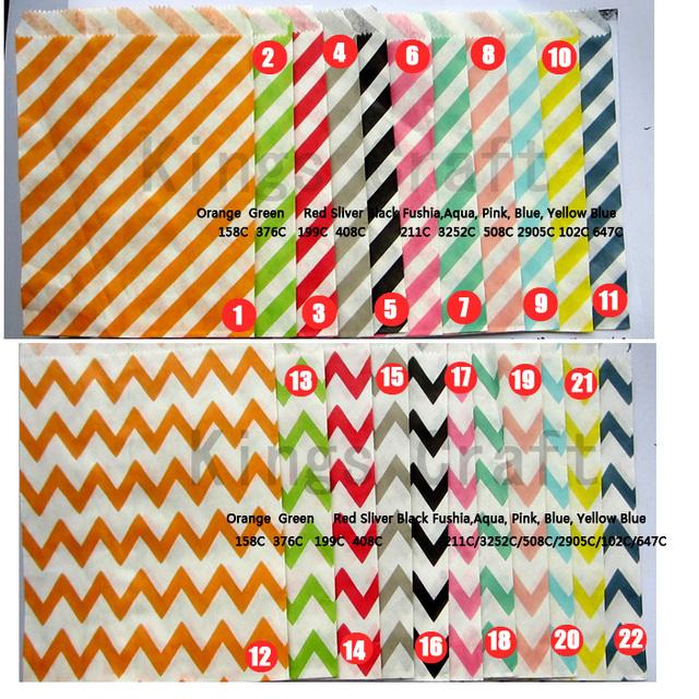 500pcs/ Lot Party Favor Paper Bags - Chevron & Polka Dot & Stripe Printed Paper Treat Bags - Bakery Bags