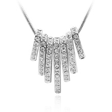 Best Quality Tassel Choker Necklaces Crystals from Swarovski Elements Rhodium Plated Collares 2015 Bijoux Femme Best Gifts(China (Mainland))