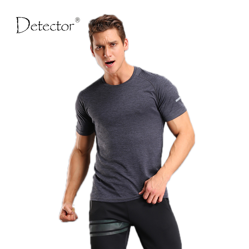 Detector Men Running Gym Fitness T Shirt Training Jersey Active Short Sleeves compression Sportswear Exercises Short Sleeve Top(China (Mainland))