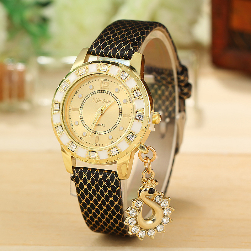 8 Colors Fashion Lady Women Dress Watches Luxury Swan Pendant Wristwatches Quartz Relogio Clock AW-SB-1106 - Aiwise Store store