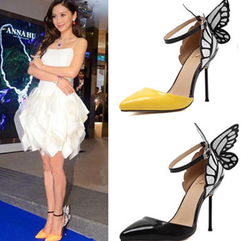Женские свадебные туфли бабочка каблуки мода женская обувь женщина острым носом насосы партии сексуальные высокие