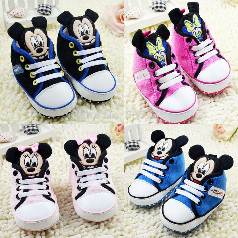 2015 New Fashion Cartoon Newborn Baby Kids Prewalker Shoes Infant Toddler Micky Minnie Girls Boys Soft Bottom Anti-slip - Baby&Kids Online Mall store