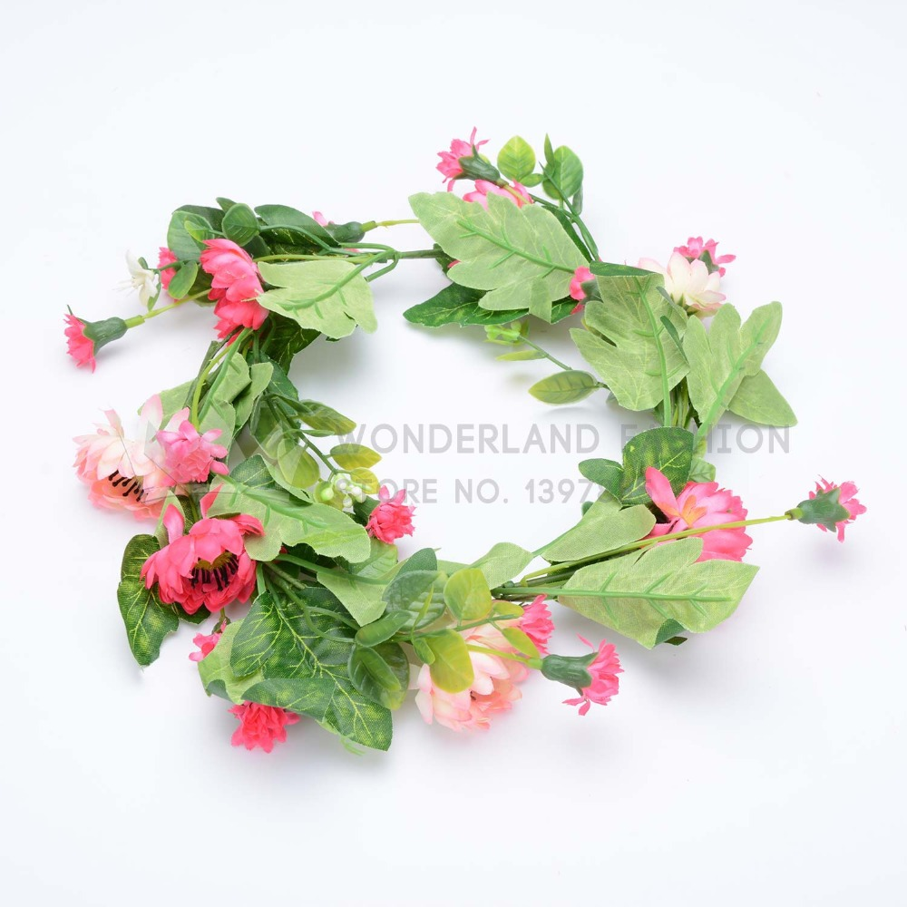 Polyester Vivid Flower Floral with Green Leaf Garland Summer Collection Hair Accessories for Women Ladies Girls Children Kids(China (Mainland))