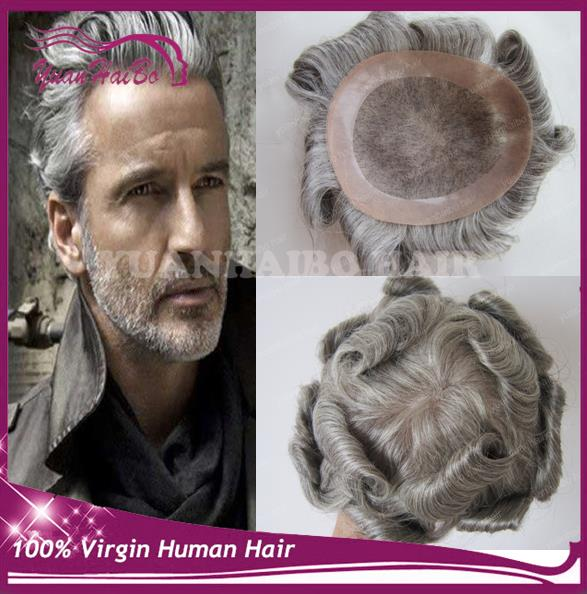 2017 Men Hair #silver natural wave malaysian remy hair short gray hair toupee for old men free shipping