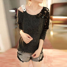 Autumn Winter Bottoming Shirt Women Batwing Sleeve Pullover Sweater Shoulder Strapless Crochet Sweater Women Clothes Y9596(China (Mainland))