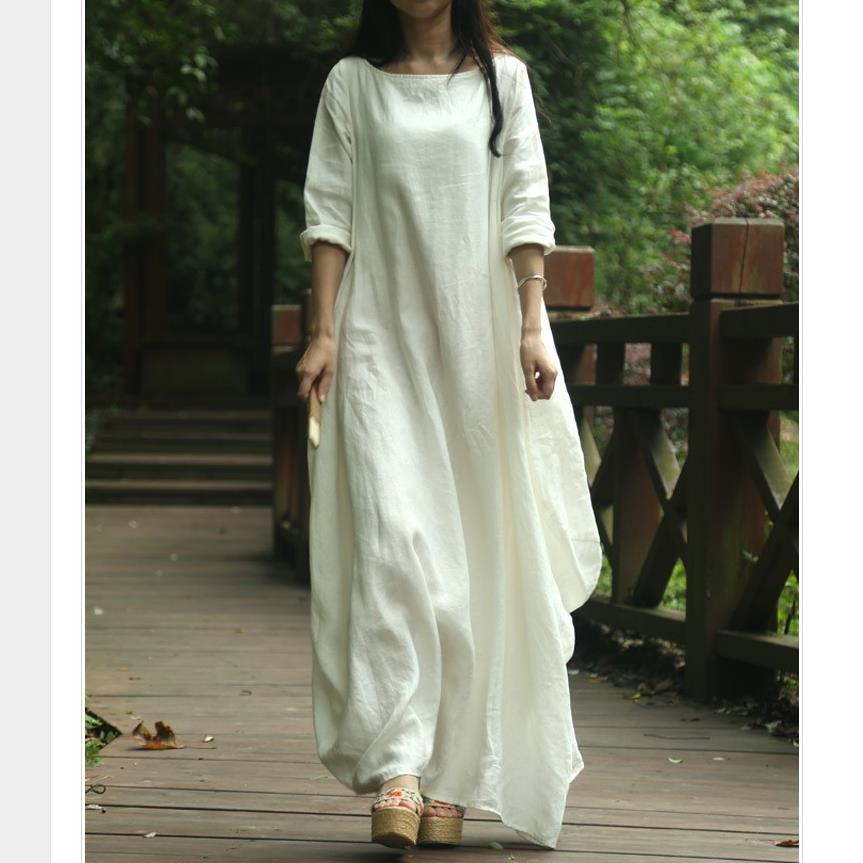 Платье длинное из льна