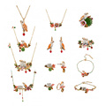 Les Nereides Owl Flowers Necklace Earring Brooch Bracelet Ring Jewelry Sets High Quality New Arrival Good