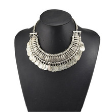 Hot Selling Womens Stylish Pretty Boho Silver Coins Choker Statement Necklace(China (Mainland))