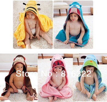 Children's Cartoon Baby Hooded Bath Towel Bathrobe Cotton Terry Infant Kids Bathing Wrap Robe Toddler-sized
