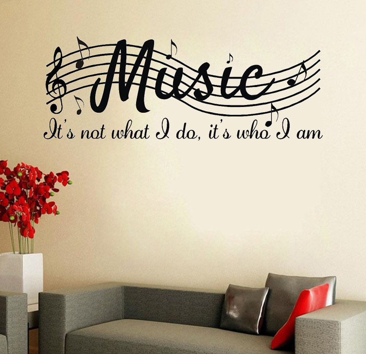 Music is not wall say quote word lettering art vinyl for Decoration word