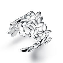 Fashion hollow leaf 925 silver jewelry ring fine nice ring top quality opening wholesale adjustable JZ5509