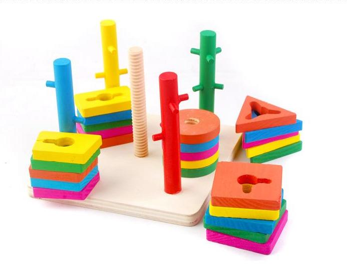 Exempt postage,five columns intelligence suit blocks,exercise baby brain hands, color shape, wooden children's educational toys(China (Mainland))