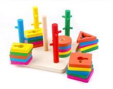 Franqueo exento, cinco columnas del juego de la inteligencia bloques, ejercicio cerebro del bebé manos libres, color forma, madera juguetes educativos para niños