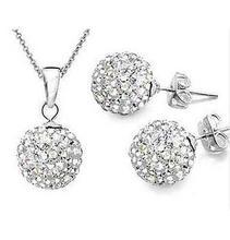 Fashion 925 plated women Jewelry  white 10mm ball Earrings Pendant Necklace Jewelry Set(China (Mainland))
