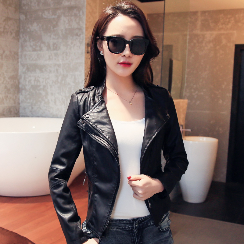 2016 motorcycle jacket casual fashion small leather leather jacket women design slim short outerwear plus size