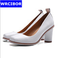 WRCIBOR Brand 2017 Women s Shoes Genuine leather Thick Heels Square Toe Pumps Women s High