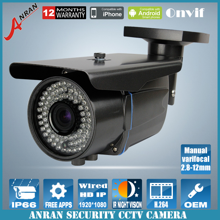 1920*1080P 2.0MP IP Camera ONVIF 2.8-12mm manual varifocal zoom lens P2P cctv cam With bracket free shipping(China (Mainland))