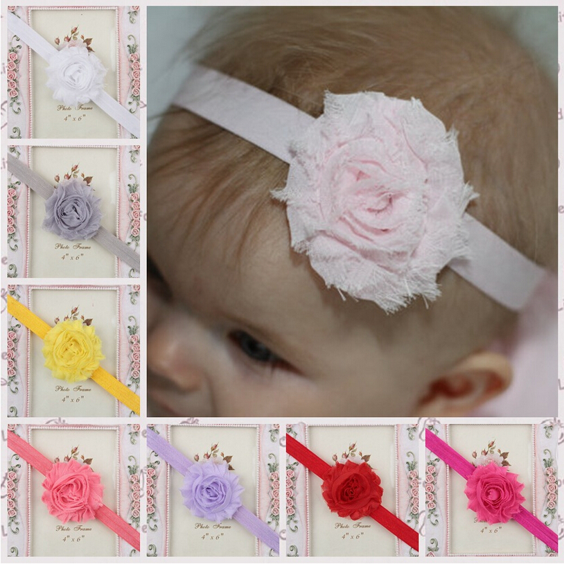 15 Colors Baby Shabby Flower Headband Beads Children Girls Headwear Infant Hairband Kids Newborn Toddler Hair Accessories - Shanghai HELE Trade Company store