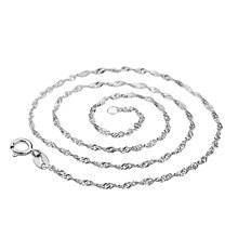 16/18/20/22/24 cal błyszczące kobiety fala wody Choker naszyjnik cienki łańcuszek biżuteria nowy hot(China)