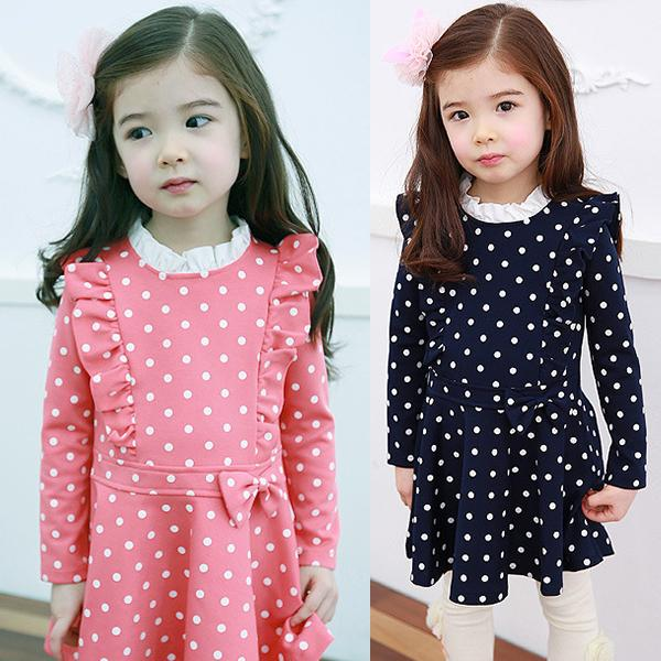 Kids Girls Dress Long Sleeve Ruffle Cotton Cute Dresses Dots Bow Clothing 1-6Y(China (Mainland))