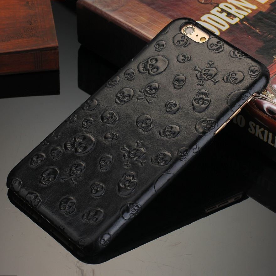 Original Natural Real Genuine Cow Leather Cases For iPhone 7 6 6S Plus 5 5S SE Cell Phone Luxury 3D Pirate Skull Back Cover Case(China (Mainland))
