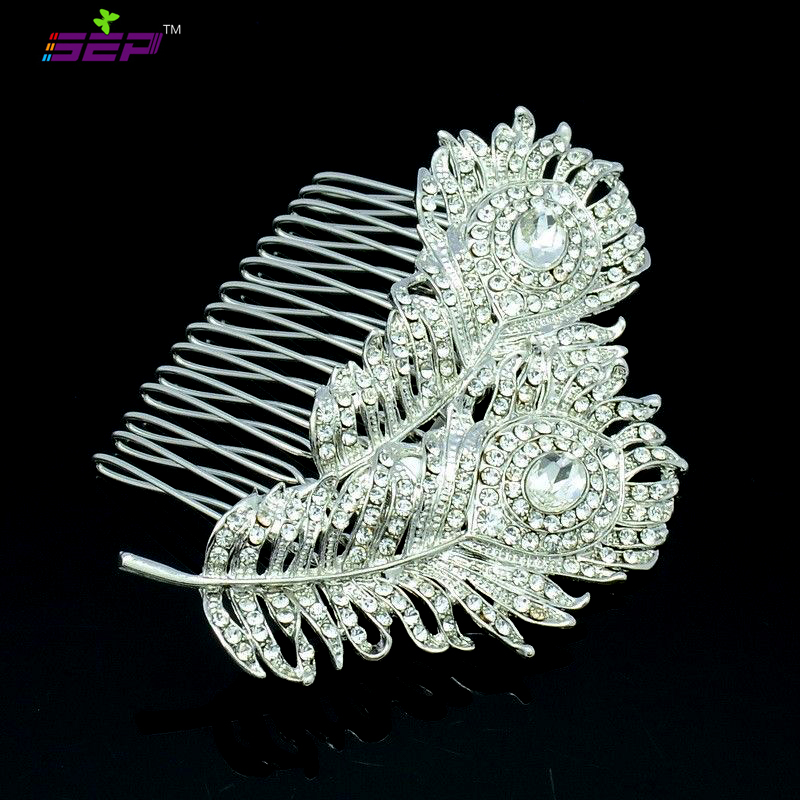 Peacock Feather Hair Comb Hairpins Rhinestone Crystal Women Accessories Bridal Wedding Jewelry 2849 - SEP store