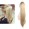 1piece Hair Extensions Blonde Natural Straight Synthetic Hair Extension Heat Resistant Fibre Hairpiece 5 Clip In Hair Extension
